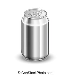 0,33 liter glossy aluminum can, soda or beer template isolated on white