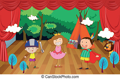 035 - illustration of kids on a stage on a beautiful...