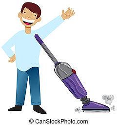 038-012013-kid-vacuuming - An image of a kid vacuuming.