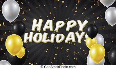 04., geschlungen, text, feiertage, bewegung, konfetti, luftballone, glücklich
