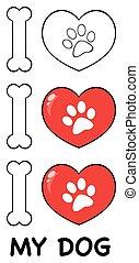 04., jogo, amor, pata, cobrança, desenho, impressão, logotipo