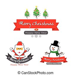 043-Merry christmas  text calligraphy with cartoon decoration for design vector illustration 001
