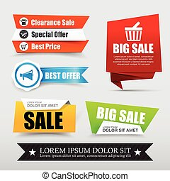 045 Collection of web tag banner for promotion sale discount vector illustration