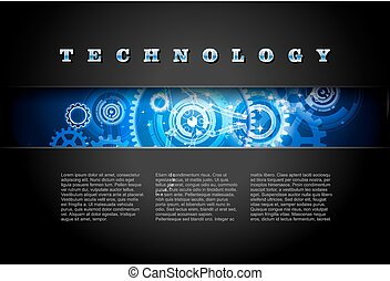 0482 Techno Background Blue - Metal Technology Panel With...