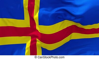 05. Aland Flag Waving in Wind Continuous Seamless Loop Background.