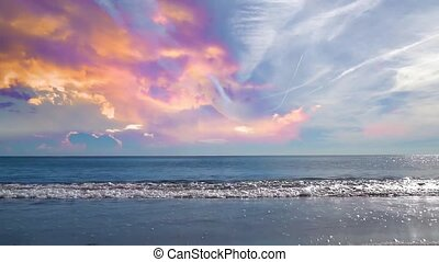 05 landscape of beautiful sunset sky and waves on a beach