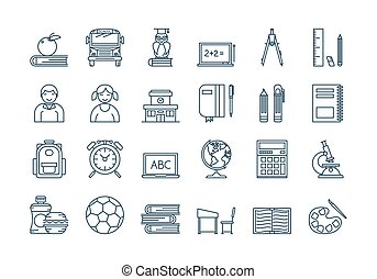 05 Outline SCHOOL EDUCATION icons set