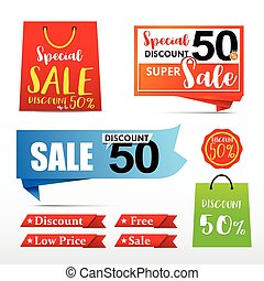 050 Collection of web tag banner for promotion sale discount vector illustration