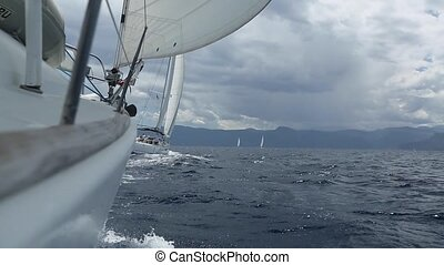 Boats in sailing regatta. Sailing