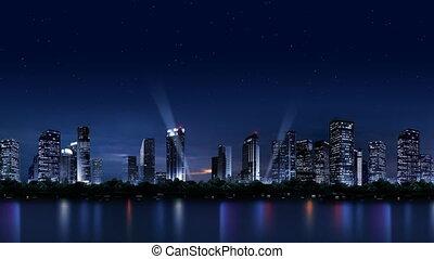 059, nuit, ville, paysage