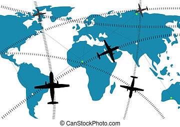 05A15 - illustration of airline route on world map