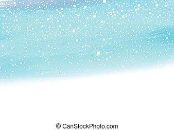 0611, aquarelle, fond, neigeux