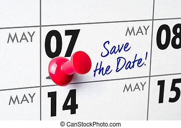 07, épingle, mur, -, mai, calendrier, rouges