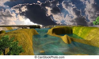 07 3D animated landscape with lake, sunset and dark clouds