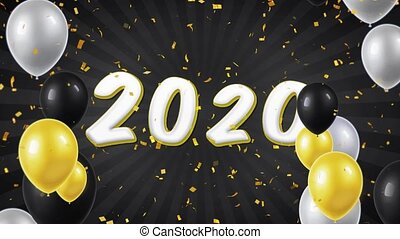 07. Happy New Year 2020 Text with Balloons, Confetti Looped Motion