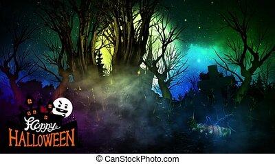 07, vert, halloween, -, écran, fond, heureux, boucle, ...
