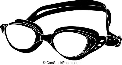 07Underwater glasses. Silhouette on a white background.