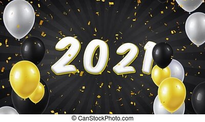 08. Happy New Year 2021 Text with Balloons, Confetti Looped Motion