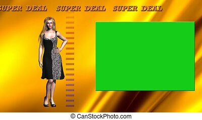 09 cartoon model presents clothes with green background and animated text.