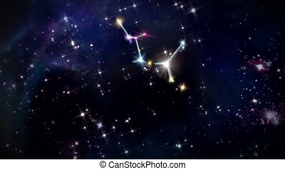 the zodiac sign forming from the twinkle stars with space background