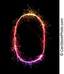 0.digit, nul, gemaakt, van, vuurwerk, sparklers, op de avond