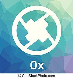 0x (ZRX) cryptocurrency coin logo - blockchain vector