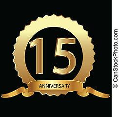 1ö, aniversário, selo ouro