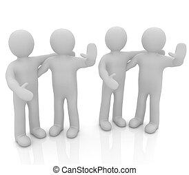 1の, 友人, 抱擁, 地位, 上げられた 手, 次に, gr