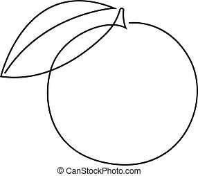 1(人・つ), オレンジ, illustration., スタイル, 絶え間がない, 最小である, ベクトル, 線, フルーツ