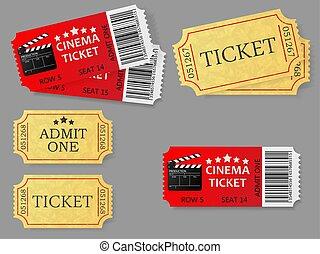 1(人・つ), セット, ベクトル, 入院させなさい, illustration., tickets.