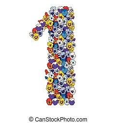 1(人・つ), ディジット, 作られた, の, 多彩, パンジー, flowers., 花, 要素, の, カラフルである, アルファベット, 作られた, から, flowers., ベクトル, イラスト