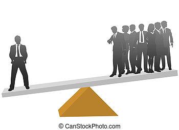 1(人・つ), ビジネス男, 価値, 彼の, 重量, 中に, 多数, 労働者