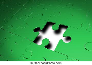 1(人・つ), 困惑, ジグソーパズル, 部分, 欠けている