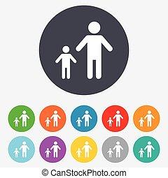 1(人・つ), 家族, 印, 子供, icon., one-parent