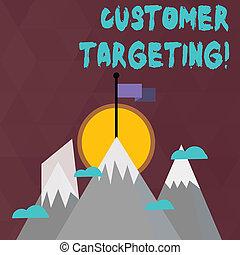 1(人・つ), 山, 顧客, 持つ, ビジネス, プロセス, 写真, 提示, 雪, 3, 高く, 概念, 旗, targeting., 手, テキスト, peak., 執筆, 顧客, 市場, defines