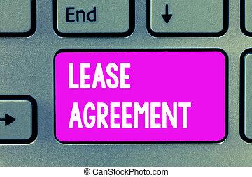 1(人・つ), 概念, 単語, ビジネス, agreement., テキスト, 契約, 執筆, 賃貸料, パーティー, 特性, 同意する, 用語, 借りなさい