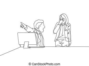 1(人・つ), 絶え間がない, 彼の, ベクトル, ドロー, ドライブしなさい, room., 解雇, 若い, 単一, 仕事, イラスト, オフィスマネージャー, から, スタッフ, 離れて, デザイン, 女性, 図画, 概念, 叫ぶこと, 線, 怒る