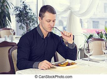 1(人・つ), 食事する, 若者