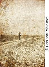 1人の人, 中に, ∥ために∥, 歩くこと, 近くに, field., 写真, 中に, 古い, イメージ, style.