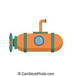 1人の人, 潜水艦, アイコン, 平ら, スタイル