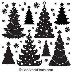 1, árbol, tema, silueta, navidad