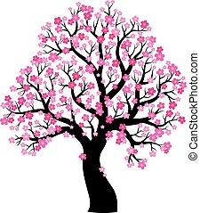 1, árvore, tema, silueta, florescer