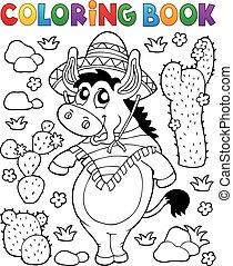 1, âne, coloration, mexicain, livre
