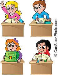 1, école, thème, image, élèves