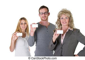 1, équipe, cartes affaires