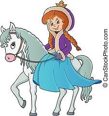 1, équitation, hiver, cheval, princesse
