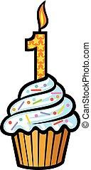 1 γενέθλια γλύκισμα , με , κερί