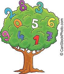1 , εικόνα , δέντρο , θέμα , αριθμοί
