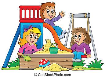 1 , εικόνα , θέμα , παιδική χαρά