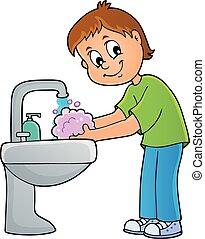 1 , πλύση , αγόρι , θέμα , ανάμιξη